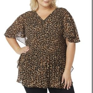 Tiger Print Tunic V Neckline with Beads